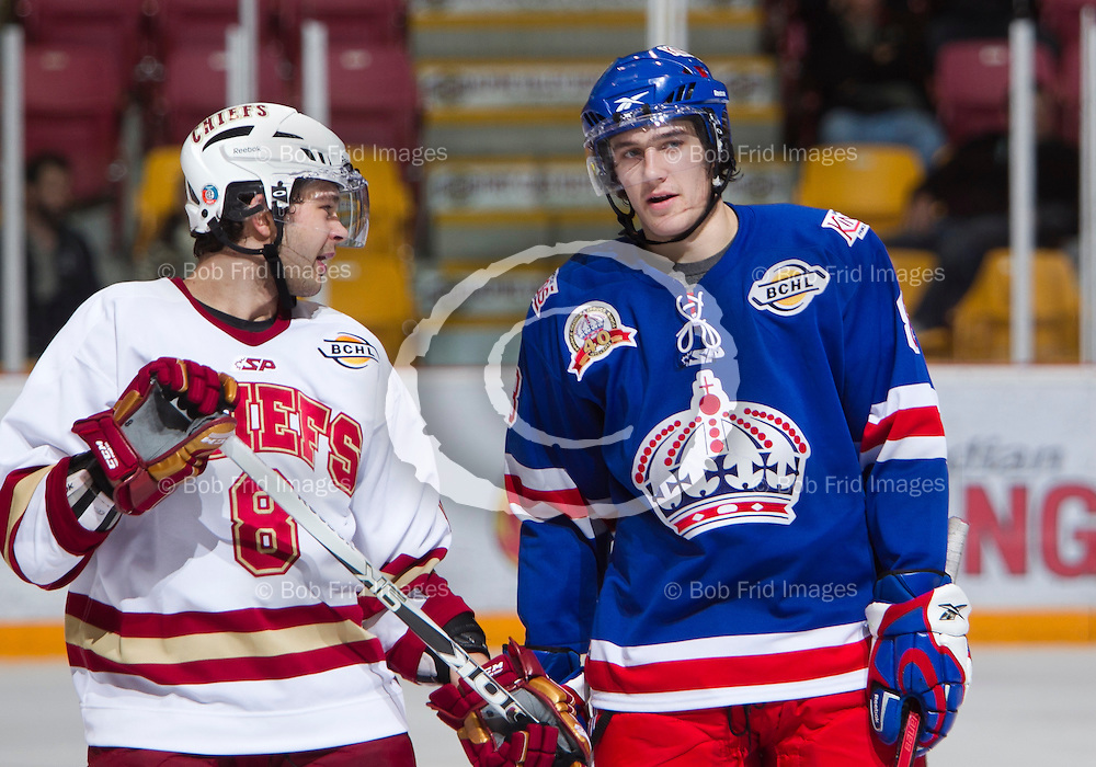 04 October  2011: Matthew Hutchinson (8) of the Chiefs, Paul De Jersey (8) of the Spuce Kings   during a game between the Chilliwack Chiefs and the Prince George Spruce Kings.  Prospera Centre, Chilliwack, BC.    Final Score: Chilliwack 4  Prince George 3   ****(Photo by Bob Frid/Freemotionphotography.ca) All Rights Reserved : cell 778-834-2455 : email: bob.frid@shaw.ca ****