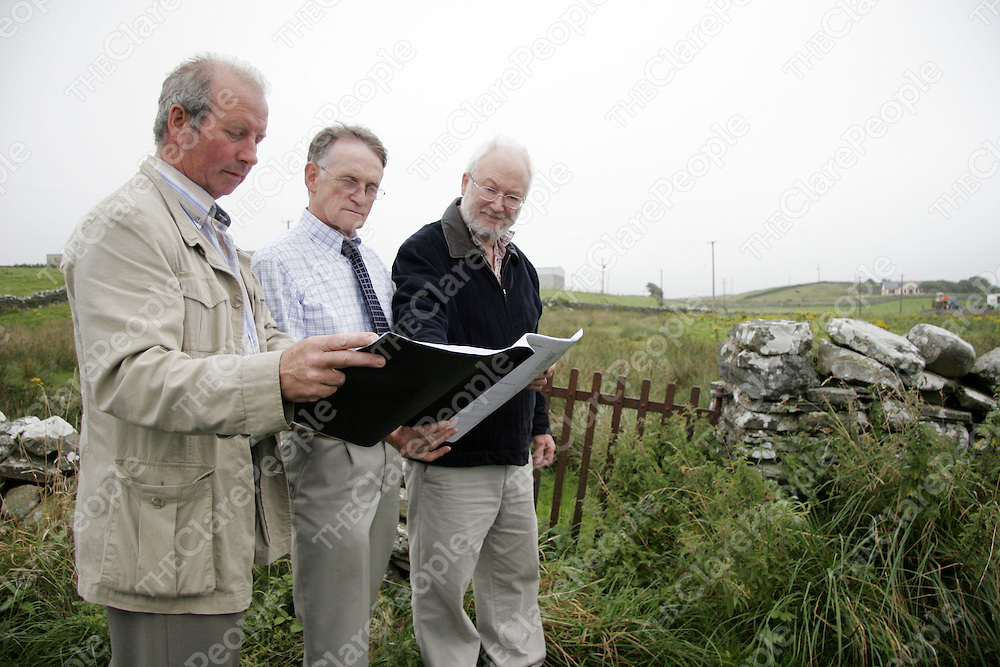 Directors of Project Ennistymon Danny Blake, Gerry Fitzpatrick and Robert Crosbie at the site of the proposed Community Enterprise Centre which was purchased from the Sisters of Mercy, Ennistymon<br />