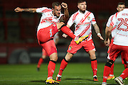 Stevenage defender Luke Wilkinson (6) during the EFL Trophy match between Stevenage and Brighton and Hove Albion at the Lamex Stadium, Stevenage, England on 4 October 2016.