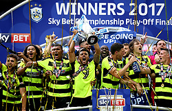 Free to use courtesy of Sky Bet - Huddersfield Town celebrate winning the Sky Bet Championship Playoff Final and promotion to the Premier League - Mandatory by-line: Robbie Stephenson/JMP - 29/05/2017 - FOOTBALL - Wembley Stadium - London, England - Huddersfield Town v Reading - Sky Bet Championship Play-off Final