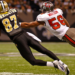 January 2, 2011; New Orleans, LA, USA; New Orleans Saints wide receiver Adrian Arrington (87) catches a pass in front of Tampa Bay Buccaneers linebacker Dekoda Watson (56) during the fourth quarter at the Louisiana Superdome. The Buccaneers defeated the Saints 23-13. Mandatory Credit: Derick E. Hingle