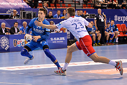 Domen Makuc of Celje PL during handball match between Meshkov Brest and RK Celje Pivovarna Lasko in bronze medal match of SEHA- Gazprom League Final 4, on April 15, 2018 in Skopje, Macedonia. Photo by  Sportida