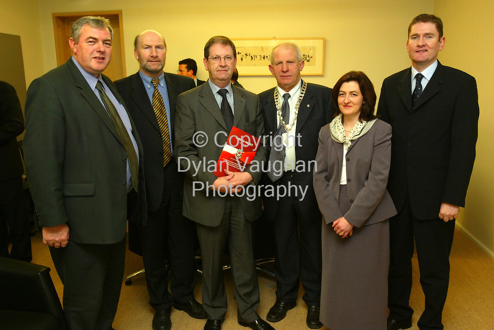 17/12/2002.Pictured at the launch of the south-east business research findings at the Waterford Institute of Technology was from left Michael Dee Enterprise Ireland,Thomas Byrne Director SERA, the Minister of State at the Department of Enterprise, Trade and Employment, Michael Ahern TD,Cllr Michael Maguire Cathaoirleach SERA, Marie T Moran Waterford Intitute of Technology and Sean McKeown C.E.O Kilkenny County Enterprise Board..The Study commissioned by the South-East Regional Authority was undertaken by Waterford Institute of Technology and the Institute of Technology Carlow in conjunction with the seven City and County Enterprise Boards within the region as well as Enterprise Ireland and PLATO..Picture Dylan Vaughan