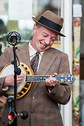 George Formby (AKA Paul Casper) plays in Northallerton Town Square after Robin went down on one knee to pop the question to Suzanne on Saturday Morning<br /> <br /> 15 June 2013<br /> Image &copy; Paul David Drabble<br /> www.pauldaviddrabble.co.uk