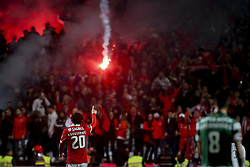 January 3, 2018 - Lisbon, Portugal - Benfica's midfielder Filip Krovinovic celebrating their goal during the Portuguese League  football match between SL Benfica and Sporting CP at Luz  Stadium in Lisbon on January 3, 2018. (Credit Image: © Carlos Costa/NurPhoto via ZUMA Press)