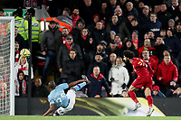 Football - 2019 / 2020 Premier League - Liverpool vs. Manchester City<br /> <br /> Mohamed Salah of Liverpool scores his sides second goal, at Anfield.<br /> <br /> COLORSPORT/PAUL GREENWOOD