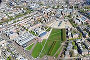 Nederland, Noord-Holland, Amsterdam, 09-04-2014; overzicht Museumplein en Museumkwartier. Linksonder Van Baerlestraat met trambaan. Stedelijk Museum en Van Goghmuseum en de achterkant van het Rijksmuseum met fietstunnel (rechtsboven). <br /> View on t the Museumplein and surroundings. From bottom left (CW)  the Stedelijk Museum, the Van Goghmuseum and the rear side of the Concergebouw. <br /> luchtfoto (toeslag op standard tarieven);<br /> aerial photo (additional fee required);<br /> copyright foto/photo Siebe Swart