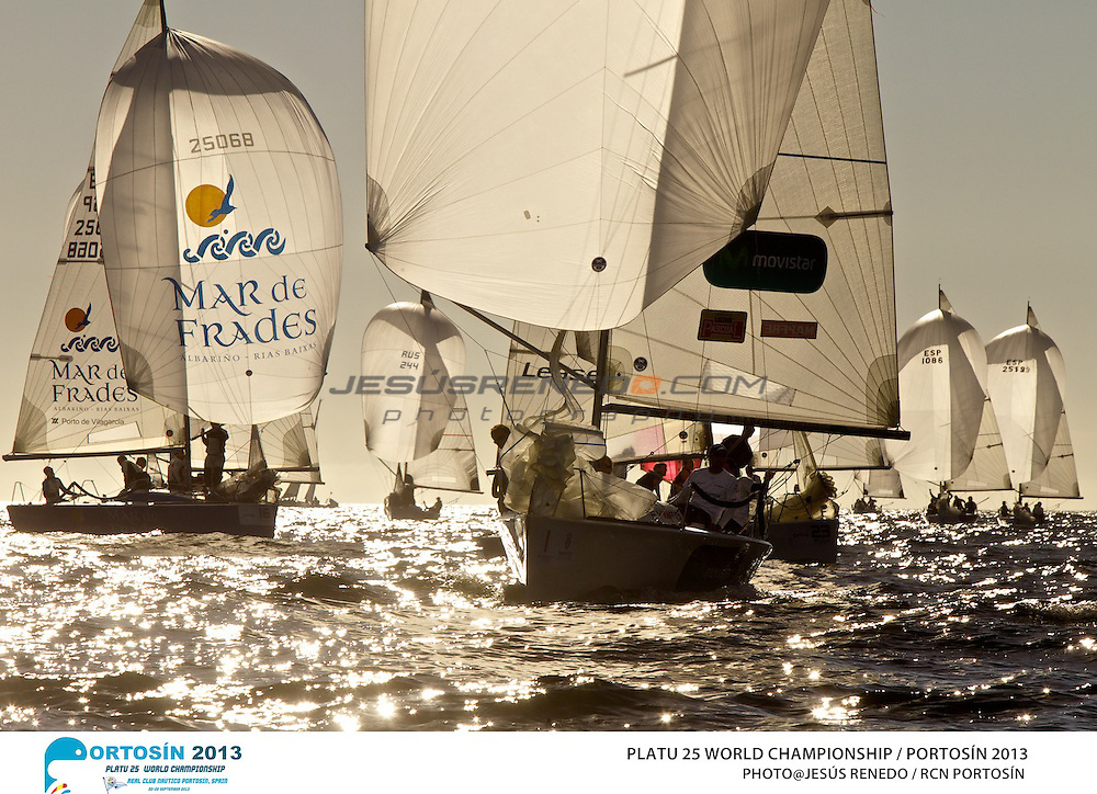 Platu 25 World Championships, Portosín , Galicia, Spain. Day 2 ,24-29 September 2013  ©