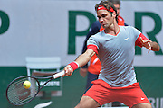 Roger Federer from Switzerland competes in men's single first round while Day First during The French Open 2014 at Roland Garros Tennis Club in Paris, France.<br /> <br /> France, Paris, May 25, 2014<br /> <br /> Picture also available in RAW (NEF) or TIFF format on special request.<br /> <br /> For editorial use only. Any commercial or promotional use requires permission.<br /> <br /> Mandatory credit:<br /> Photo by &copy; Adam Nurkiewicz / Mediasport