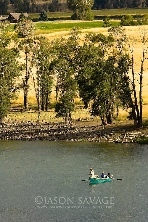 Flyfisherman on the Yellowstone River south of Livington, Montana.