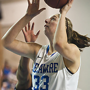 01/11/12 Newark DE: Delaware Freshmen Center #33 Stephanie Leon attempts a shot under the basket during a Colonial Athletic Association Conference Basketball Game against  The University of North Carolina Wilmington Seahawks Thursday, Jan. 12, 2012 at the Bob Carpenter Center in Newark Delaware...