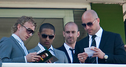 LIVERPOOL, ENGLAND - Friday, April 8, 2011: Liverpool's Dirk Kuyt, Glen Johnson, Raul Meireles and goalkeeper Pepe Reina enjoy Ladies Day, Day 2 of the 2011 Grand National meeting at Aintree Racecourse. (Photo by David Tickle/Propaganda)