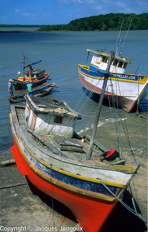 Fishing boats at Sao Joao de Pirabas port, Atlantic Coast, Para, Brazil