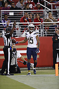 Los Angeles Chargers wide receiver Andre Patton (15) in action during the 2018 NFL preseason week 4 football game against the San Francisco 49ers on Thursday, Aug. 30, 2018 in Santa Clara, Calif. The Chargers won the game 23-21. (©Paul Anthony Spinelli)