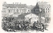 Revolution in Germany. Conflict between troops and citizens in the Domhofs Platz, Berlin, 28 May 1849. On the left is the group of cavalry called in to clear the streets.  From 'The Illustrated London News' (London, 19 May 1849).