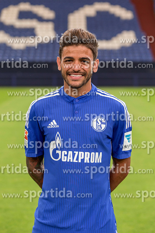 23.06.2015, Veltins-Arena, Gelsenkirchen, GER, 1. FBL, Schalke 04, Fototermin, im Bild Junior Caicara (Schalke) // during the official Team and Portrait Photoshoot of German Bundesliga Club Schalke 04 at the Veltins-Arena in Gelsenkirchen, Germany on 2015/06/23. EXPA Pictures &copy; 2015, PhotoCredit: EXPA/ Eibner-Pressefoto/ Hommes<br /> <br /> *****ATTENTION - OUT of GER*****