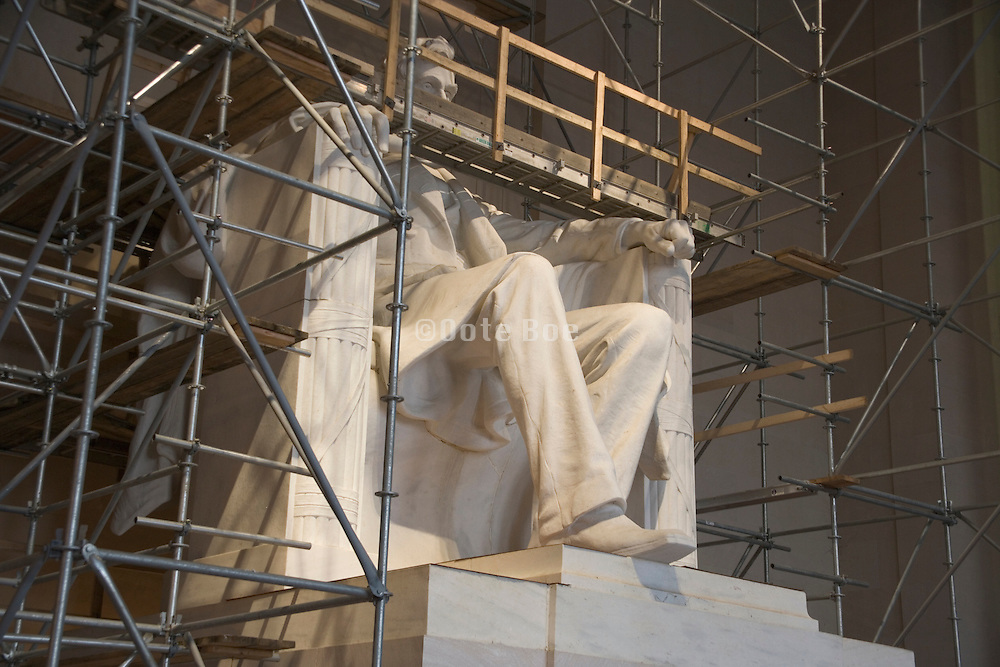 Washington Dc Lincoln Memorial while being restored