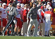 November 06 2010: Nebraska Cornhuskers head coach Bo Pelini yells at an official during the first half of the NCAA football game between the Nebraska Cornhuskers and the Iowa State Cyclones at Jack Trice Stadium in Ames, Iowa on Saturday November 6, 2010. Nebraska defeated Iowa State 31-30.