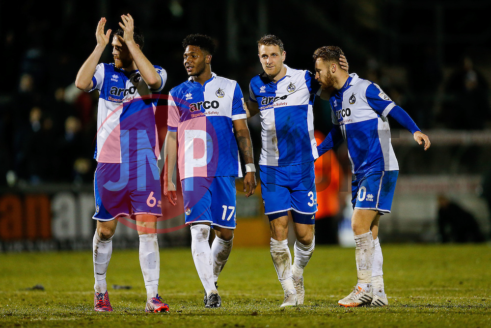 (L-R) Tom Parkes, goalscorer Ellis Harrison, Lee Brown and goalscorer Matt Taylor celebrate after Bristol Rovers win the match to go 2 points clear at the top of the league - Photo mandatory by-line: Rogan Thomson/JMP - 07966 386802 - 24/02/2015 - SPORT - FOOTBALL - Bristol, England - Memorial Stadium - Bristol Rovers v Braintree Town - Vanarama Conference Premier.