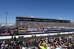 April 8, 2018 - Las Vegas, NV, U.S. - LAS VEGAS, NV - APRIL 08: Terry Totten (565 TF), Antron Brown (4 TF) Don Schumacher Racing (DSR) NHRA Top Fuel Dragster, Leah Pritchett (777 TF) NHRA Top Fuel Dragster, and Mike Salinas (7211 TF) NHRA Top Fuel Dragster launch off the line for their first round eliminations run during the DENSO Spark Plugs NHRA Four-Wide Nationals on April 08, 2018 at The Strip at Las Vegas Motor Speedway in Las Vegas, NV. (Photo by Chris Williams/Icon Sportswire) (Credit Image: © Chris Williams/Icon SMI via ZUMA Press)