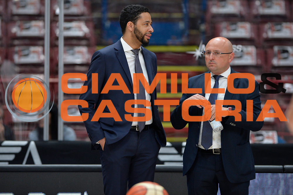 Trainotti Salvatore,Robinson Michael<br /> Olimpia EA7 Emporio Armani Milano vs Dolomiti Energia Trentino<br /> Lega Basket Serie A 2016/2017<br /> PlayOff semifinale gara 2<br /> Milano 27/05/2017<br /> Foto Ciamillo-Castoria / I.Mancini