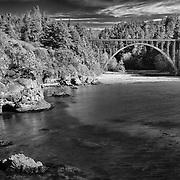 Russian Gulch Bridge Highway 1 Wide View - Mendocino, CA - HDR - Infrared Black & White