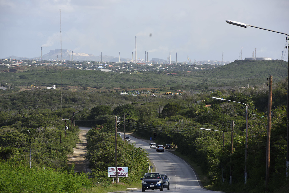 WILLEMSTAD, CURACAO - DECEMBER 12, 2014:  Curacao's Isla Refinery on Willemstad harbor can be seen and smelled from far away.  (photo by Melissa Lyttle)