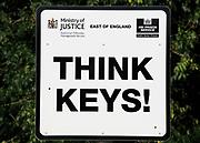 Think keys sign, HM Prison Hollesley Bay, Suffolk, England, UK