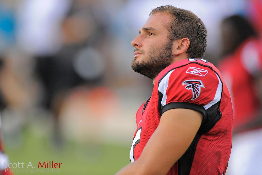 Atlanta Falcons place kicker Matt Bosher (5) during the Falcons game against the Jacksonville Jaguars at EverBank Field on Aug. 19, 2011 in Jacksonville, Fla...©2011 Scott A. Miller