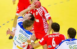 Jure Dolenec of Slovenia during handball match between Slovenia and Croatia in  2nd Round of Preliminary Round of 10th EHF European Handball Championship Serbia 2012, on January 18, 2012 in Millennium Center, Vrsac, Serbia. (Photo By Vid Ponikvar / Sportida.com)