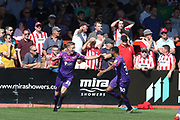 Eoin Doyle scores the 1st of his two goals and celebrates  during the EFL Sky Bet League 2 match between Cheltenham Town and Swindon Town at Jonny Rocks Stadium, Cheltenham, England on 24 August 2019.