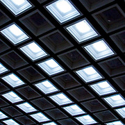 Ceiling lights grid pattern (Moskva (Moscow), Russian Federation - Aug. 2008) (Image ID: 080817-1655221a)