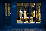 Elegant ladies fashion shop window in the Latin Quarter of  Aarhus, Denmark
