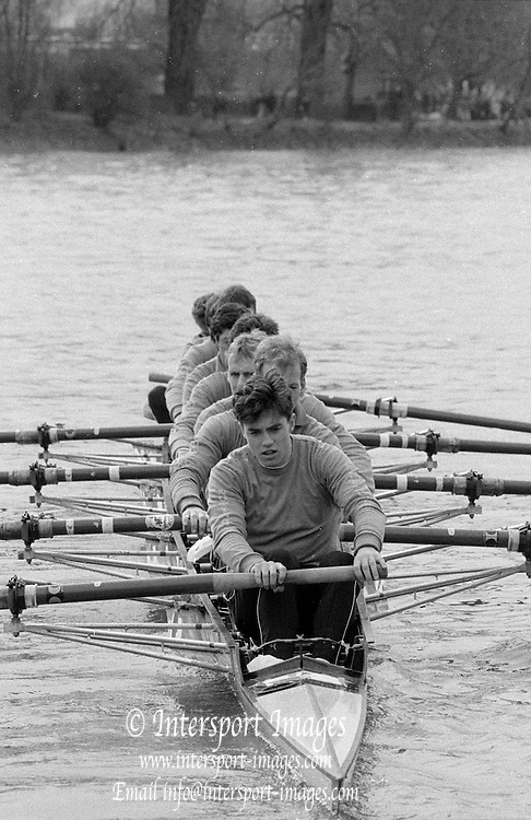 Chiswick. London.<br /> Eights starting from Mortlake<br /> Notts County Rowing Association NCRA. Stroke, Stuart FORBES, Neil STAITE, Carl SMITH, XXXXX Bill DOWNING, XXXX. Alan WHITWELL, Simon LARKIN, Peter HAINING and  Chris BATES.<br /> 1987 Head of the River Race over the reversed Championship Course Mortlake to Putney on the River Thames. Saturday 28.03.1987. <br /> <br /> [Mandatory Credit: Peter SPURRIER;Intersport images] 1987 Head of the River Race, London. UK