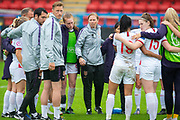 Rehanne Skinner, head coach of England (centre) speaks to her players after the final whistle of the UEFA Women's U19 European Championship match between England Women and Spain at Forthbank Stadium, Stirling, Scotland on 19 July 2019.