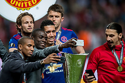 24-05-2017 SWE: Final Europa League AFC Ajax - Manchester United, Stockholm<br /> Finale Europa League tussen Ajax en Manchester United in het Friends Arena te Stockholm / Daley Blind #20 of Manchester United met de UEFA cup trophy