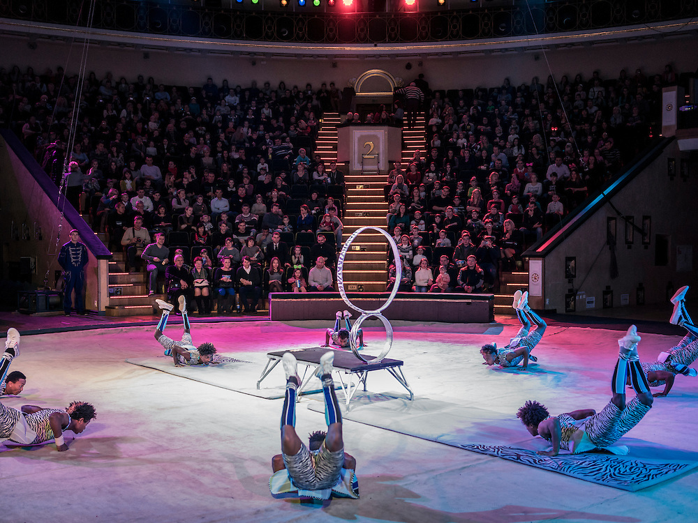 """A group of acrobats from Ethiopia perform in a show titled """"Africa!?!"""" as one of the acts of the Belarus State Circus on Wednesday, November 25, 2015 in Minsk, Belarus."""