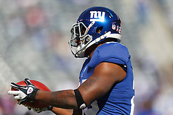 Oct 16, 2011; East Rutherford, NJ, USA; New York Giants running back D.J. Ware (28) warms up before the game against the Buffalo Bills at MetLife Stadium. New York defeated Buffalo 27-24. Mandatory Credit: Jason O. Watson-US PRESSWIRE