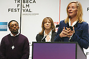 l to r: Spike Lee, Jane Rosenthal and Urma Thurman at The 2009 Tribeca Film Festival Opening Press Conference Kick-Off held at The Borough of Manhattan Community College in New york City on April 21, 2009