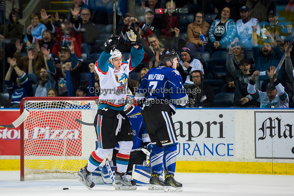 KELOWNA, CANADA - MARCH 11: Calvin Thurkauf #27 of the Kelowna Rockets celebrates the game winning goal in OT against the Victoria Royals on March 11, 2017 at Prospera Place in Kelowna, British Columbia, Canada.  (Photo by Marissa Baecker/Shoot the Breeze)  *** Local Caption ***