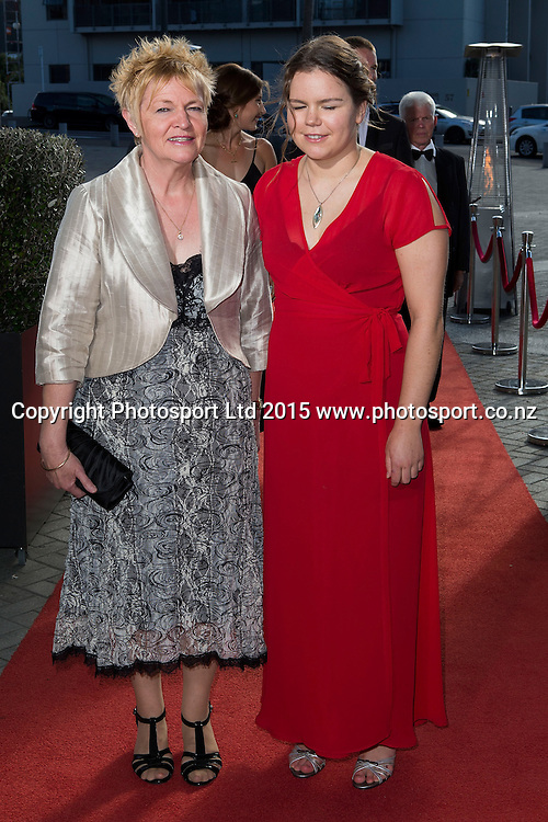 Para-Swimming`s Mary Fisher, right, poses for a picture on the red carpet at the 52nd Halberg Awards. Halberg Disability Sport Foundation. Vector Arena, Auckland, New Zealand. Wednesday 11 February 2015. Copyright Photo: David Rowland / www.photosport.co.nz