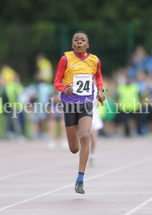 20 Aug 2016:  Raphael Abidoye, Wexford, heads for the finish line in the final leg of the Boys U14 4x100 Relay.   2016 Community Games National Festival 2016.  Athlone Institute of Technology, Athlone, Co. Westmeath. Picture: Caroline Quinn