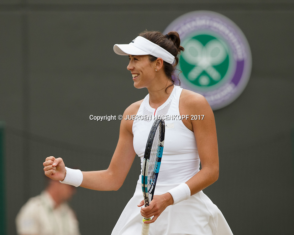 GARBI&Ntilde;E MUGURUZA (ESP) macht die Faust und jubelt nach ihrem Sieg,Jubel, Freude,Emotion<br /> <br /> Tennis - Wimbledon 2017 - Grand Slam ITF / ATP / WTA -  AELTC - London -  - Great Britain  - 11 July 2017.