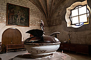 A baptismal tub in the San Nicolas Tolentino Temple and Ex-Monastery in Actopan, Hidalgo, Mexico. The colonial church and convent  was built in 1546 and combine architectural elements from the romantic, gothic and renaissance periods.