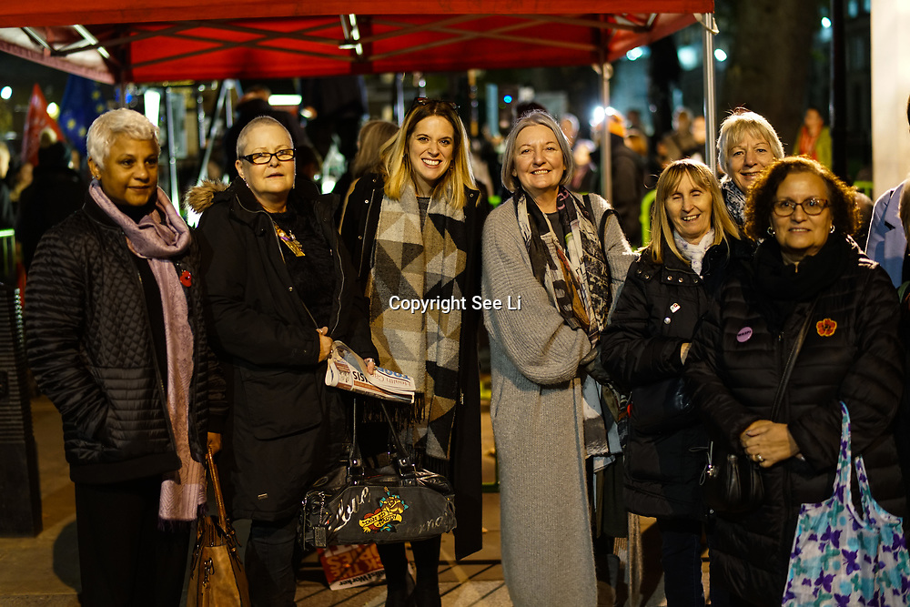 Laura Smith MP join the proest ahead of Budget Day against the Government's plans to overhaul the welfare system by forcing people onto Universal Credit outside Downing Street on 21st November 2017,  London, UK.