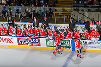 KELOWNA, CANADA - JANUARY 28: Athletic therapist Rich Campbell, assistant coach, Oliver David, head coach, Mike Johnston, associate coach, Kyle Gustafson, and equipment manager Mark Brennan of the Portland Winterhawks stand on the bench as players celebrate a goal against the Kelowna Rockets on January 28, 2017 at Prospera Place in Kelowna, British Columbia, Canada.  (Photo by Marissa Baecker/Shoot the Breeze)  *** Local Caption ***