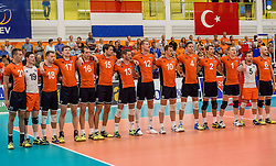 23-09-2016 NED: EK Kwalificatie Nederland - Oostenrijk, Koog aan de Zaan<br /> Nederland pakt de eerste set 25-17 / Line up Nederland