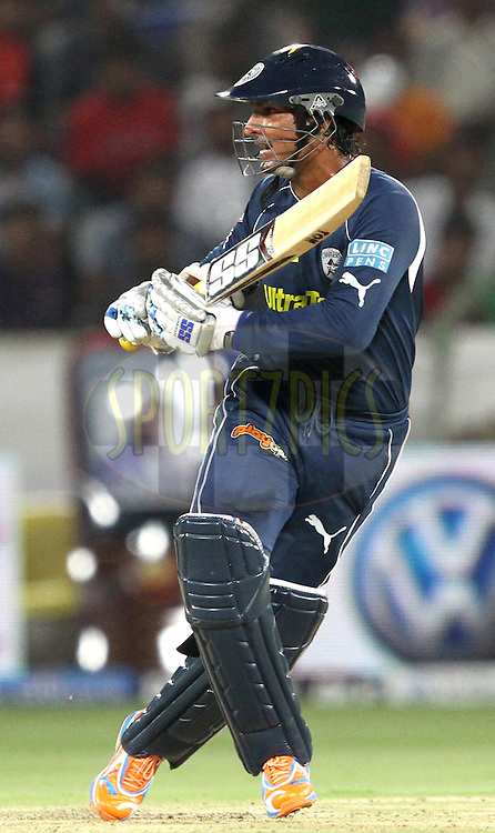 K. Sangakara during match 11 of the Indian Premier League ( IPL ) between the Deccan Chargers and the Royal Challengers Bangalore held at the Rajiv Gandhi International Cricket Stadium in Hyderabad on the 14th April 2011..Photo by Prashant Bhoot/BCCI/SPORTZPICS.