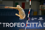 "Sofia Maffeis during the ""1st Trofeo Citta di Monza"" tournament. On this occasion we have seen the rhythmic gymnastics teams of Belarus and Italy challenge each other. The Bilateral period was only June 9, 2019 at the Candy Arena in Monza, Italy."