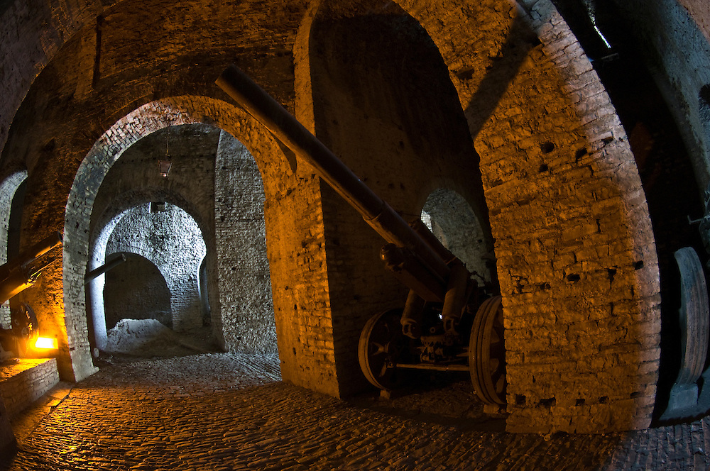 Gjirokastra castle arches and cannons